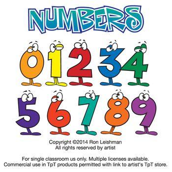 FREE! Wacky Cartoon Numbers Clipart.