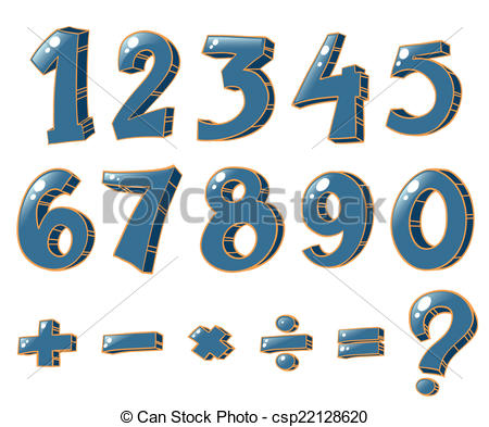 Vector Illustration of Numeric figures and mathematical operations.