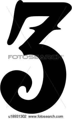 Clipart of , 3, olde victorian, number, numeral, numeric.