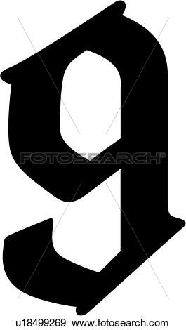 Clip Art of , 9, number, numeral, numeric, old english, u18499269.