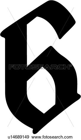 Clip Art of , 6, number, numeral, numeric, old english, u14689149.