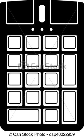 Clipart Vector of Numeric keypad with a mouse csp40022959.