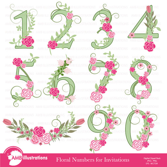 Floral Numbers clipart, Numerical clipart, Floral clipart, clipart.