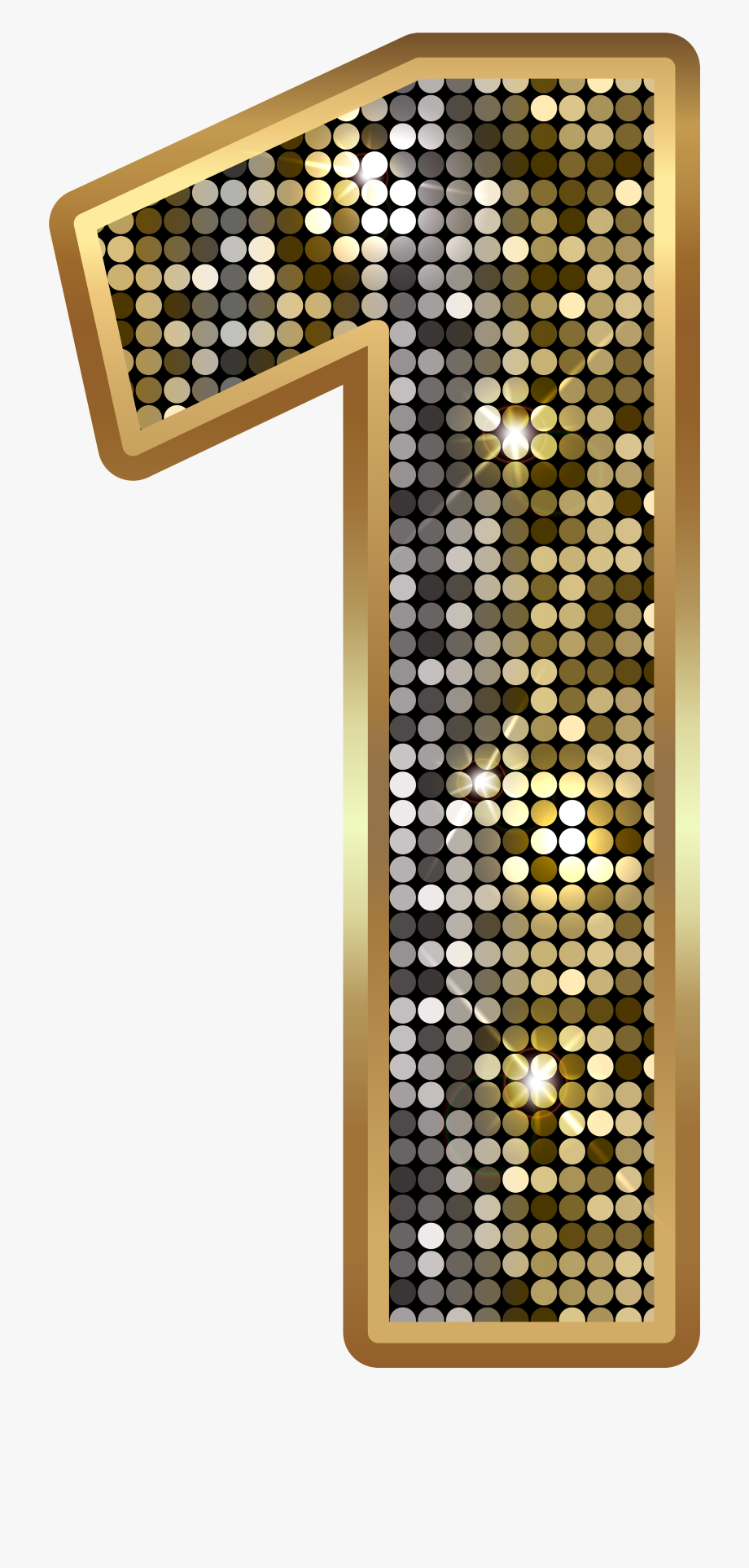 Number One Deco Gold Png Clip Art Image.