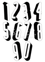 3d Black and White Tall stock vectors.