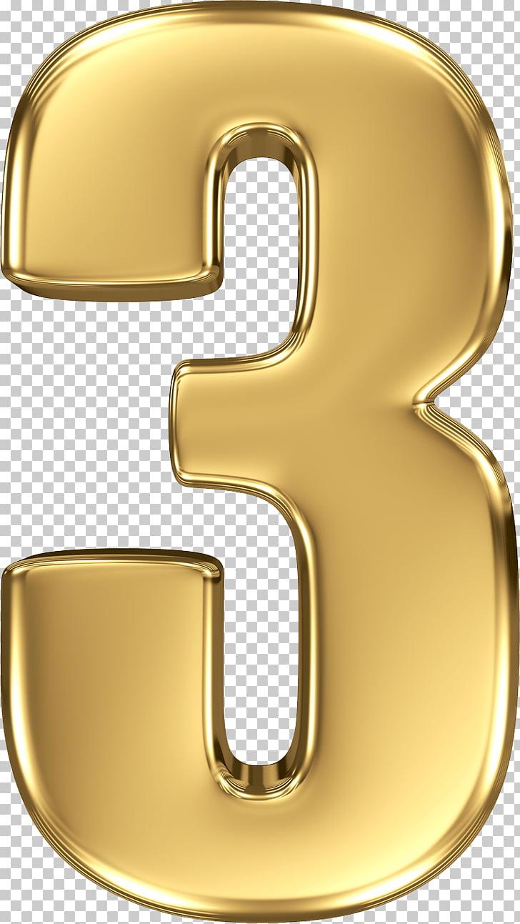 Logo numero 3, numero dorado 3 PNG Clipart.