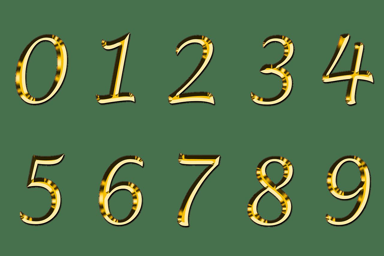 Números Dorados Serie PNG transparente.