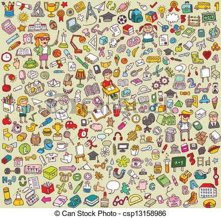 Vector of Big School and Education Icons Collection of numerous.