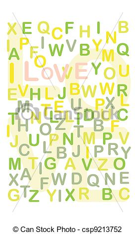 Vector Illustration of hidden I love you text among numerous.