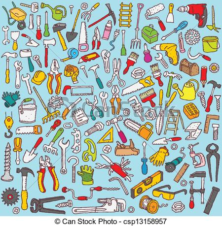 Clipart Vector of Big Tools Collection of numerous fine small hand.