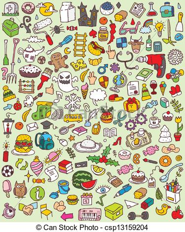 Vector Clipart of Big Doodle Icons Set is collection of numerous.