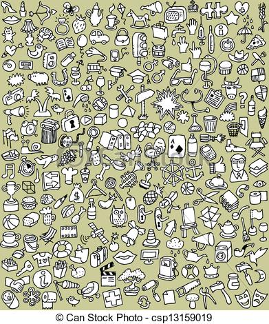Vector Clip Art of XXL Doodle Icons Set in black and white.
