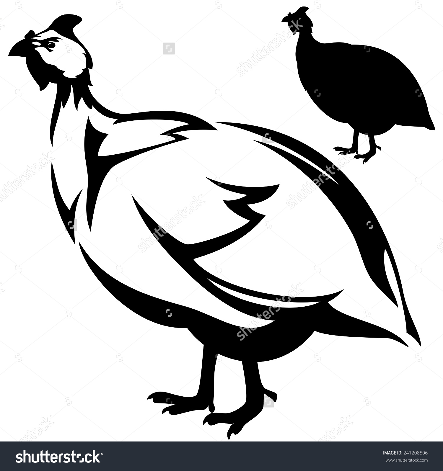 Guineafowl Numida Meleagris Bird Vector Design Stock Vector.