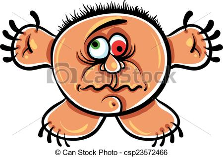 Clip Art Vector of Wierd cartoon monster, absolute crazy numskull.
