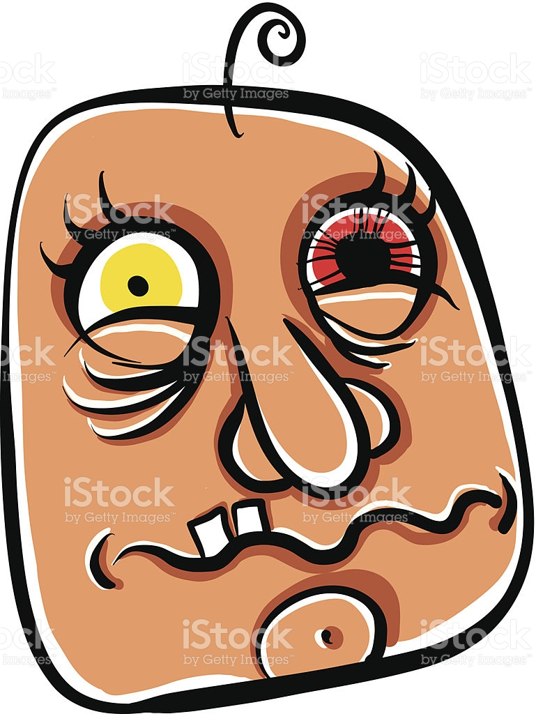 Wierd Cartoon Face Absolute Crazy Numskull Portrait Vector stock.