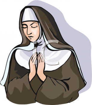 Royalty Free Clip Art Image: Nun Praying.