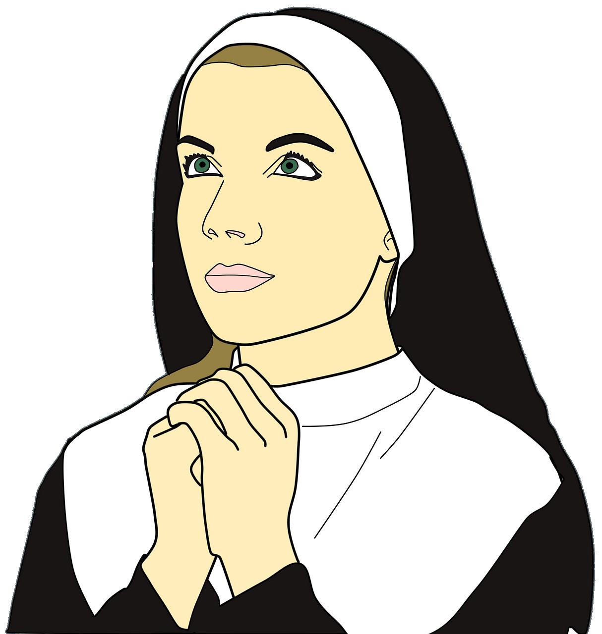 Nun praying clipart. Free download..