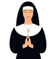Nun Praying Clipart.