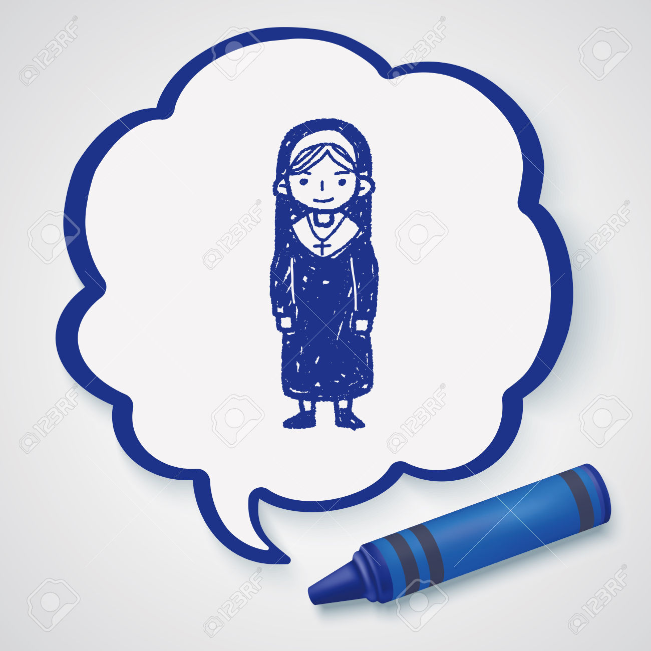 Nun Doodle Royalty Free Cliparts, Vectors, And Stock Illustration.