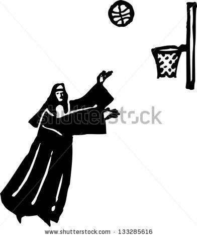 Black White Vector Illustration Nun Playing Stock Vector 133285616.