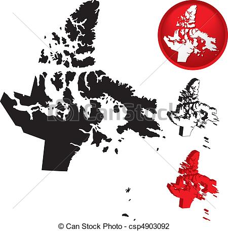 Vector Illustration of Detailed Map of Nunavut, Canada with.