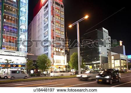 Picture of Cityscape of Nagoya city at night, Aichi Prefecture.