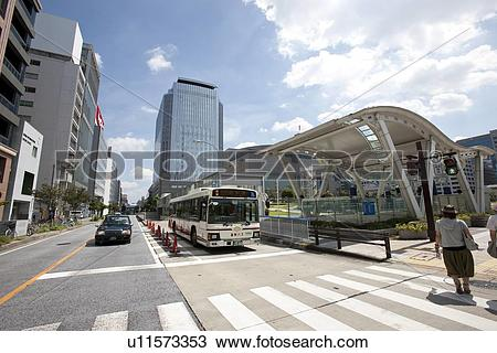 Stock Photo of Bus at a bus stop, Nagoya City, Aichi Prefecture.