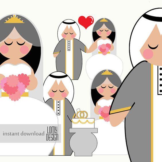 wedding clip art arab wedding middle eat wedding by LomyDesign.
