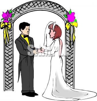 Royalty Free Clipart Image: Bride and Groom Standing Under a.