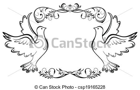Vector Illustration of Vintage wedding frame csp19165228.