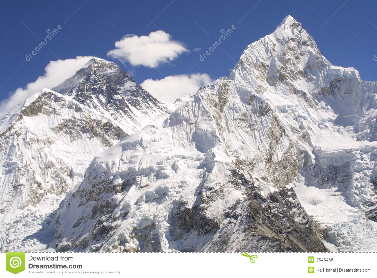 Mount Everest And Nuptse Royalty Free Stock Photos.