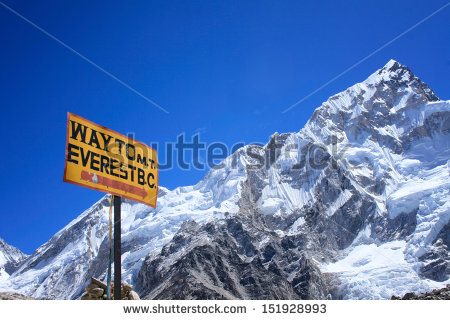 Signpost To The Mount Everest Base Camp With Nuptse Mountain In.