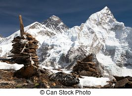Stock Photos of Everest Summit panoramic view with Lhotse and.