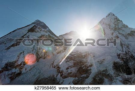 Stock Image of Morning sun above Mount Everest, lhotse and Nuptse.