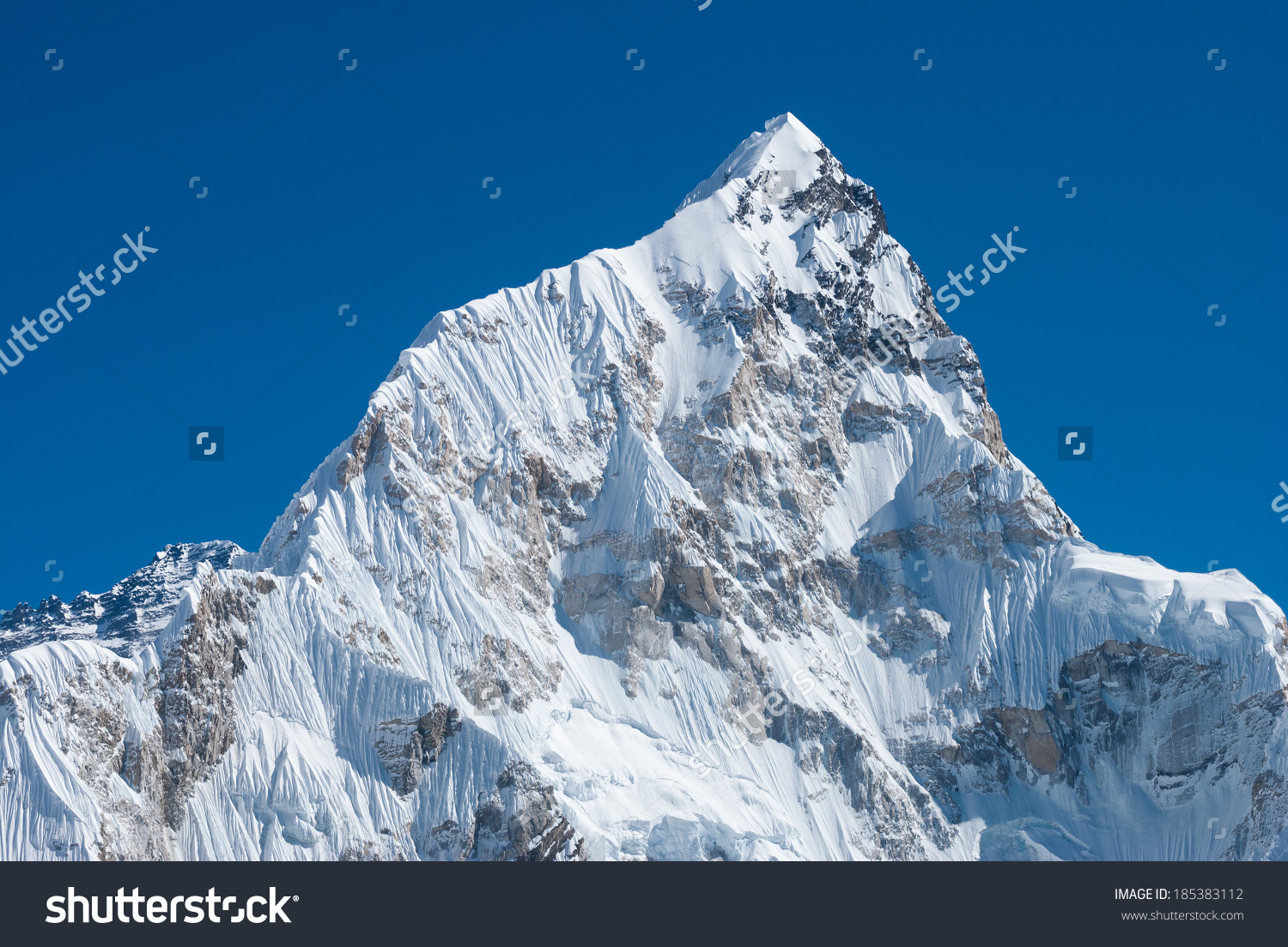 Nuptse 7861m Mountain Khumbu Region Mahalangur Stock Photo.