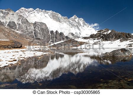 Stock Image of Panoramic view of Lhotse and Nuptse south rock face.