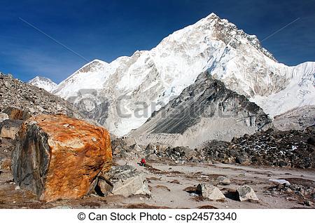 Stock Photo of Nuptse peak near Gorak Shep village.