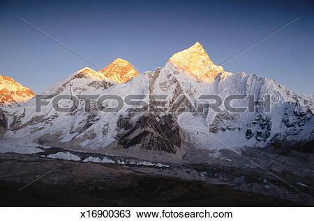 Stock Photo of Nepal, Himalayas, Mt Everest and Mt Nuptse, dusk.