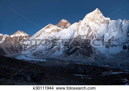 Stock Photo of Everest and Nuptse from Kala Patthar k30111944.