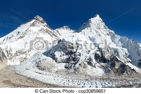 Stock Images of View of Mount Everest, Lhotse and Nuptse from Pumo.