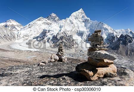 Stock Photography of Everest and Nuptse from Kala Patthar.