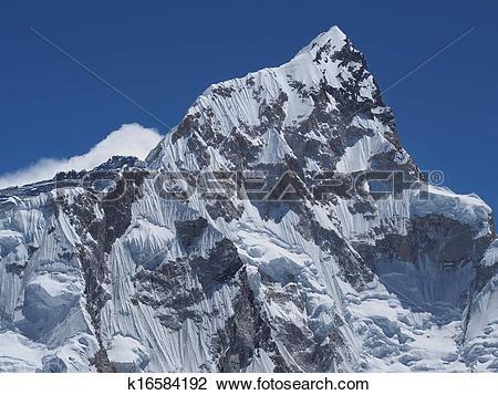 Stock Photo of Mount Nuptse Seen from Kala Patthar, Nepal.