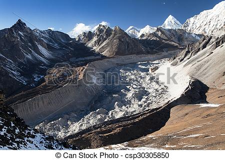 Stock Images of Nuptse glacier from chhukhung Ri view point.