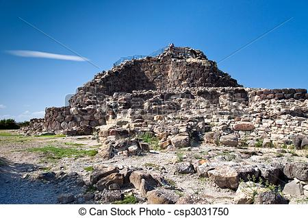 Stock Photography of Nuraghe Su Nuraxi di Barumini.