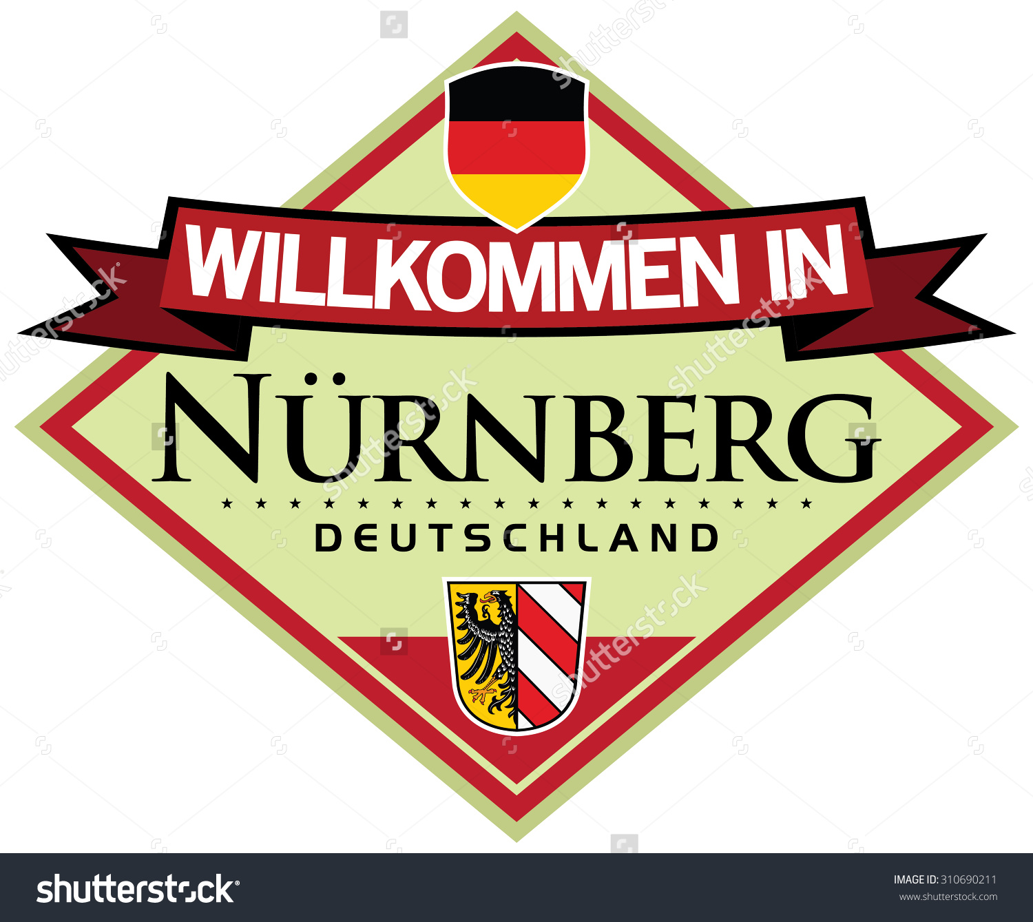 Welcome To Nuremberg Sticker In German Language Stock Vector.