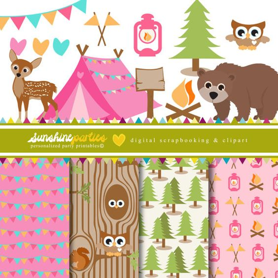 Girls Camping Party Clipart and Digital Paper Set.
