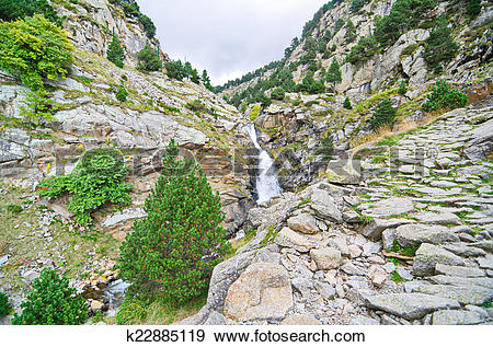 Stock Photograph of Waterfalls in Vall de Nuria, Pyrenees.