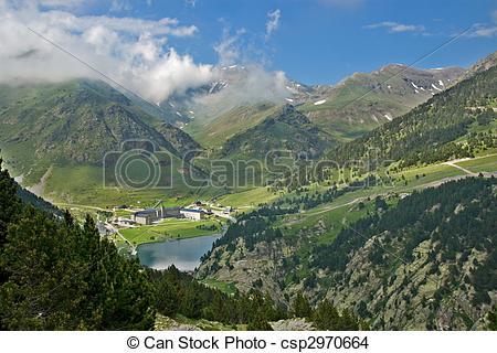 Stock Photo of Vall de Nuria Sanctuary in the catalan pyrenees.