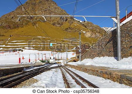 Stock Photo of Rack railway railroad tracks in Vall de Nuria in.