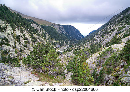 Stock Image of Vall de Nuria in the Pyrenees Mountains in.